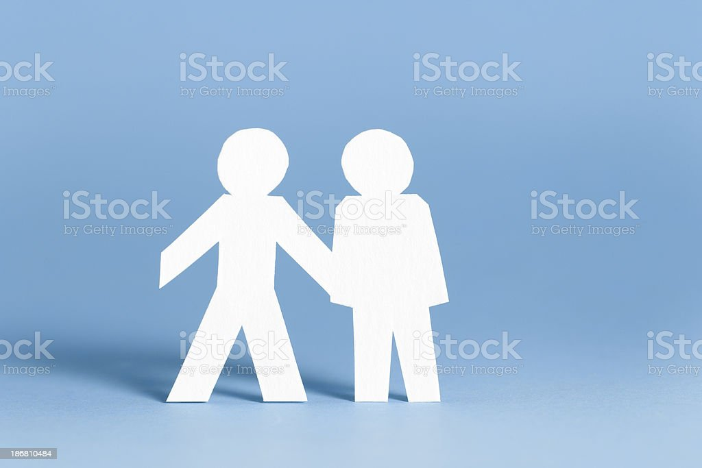 Handshake concept with paper cutouts royalty-free stock photo