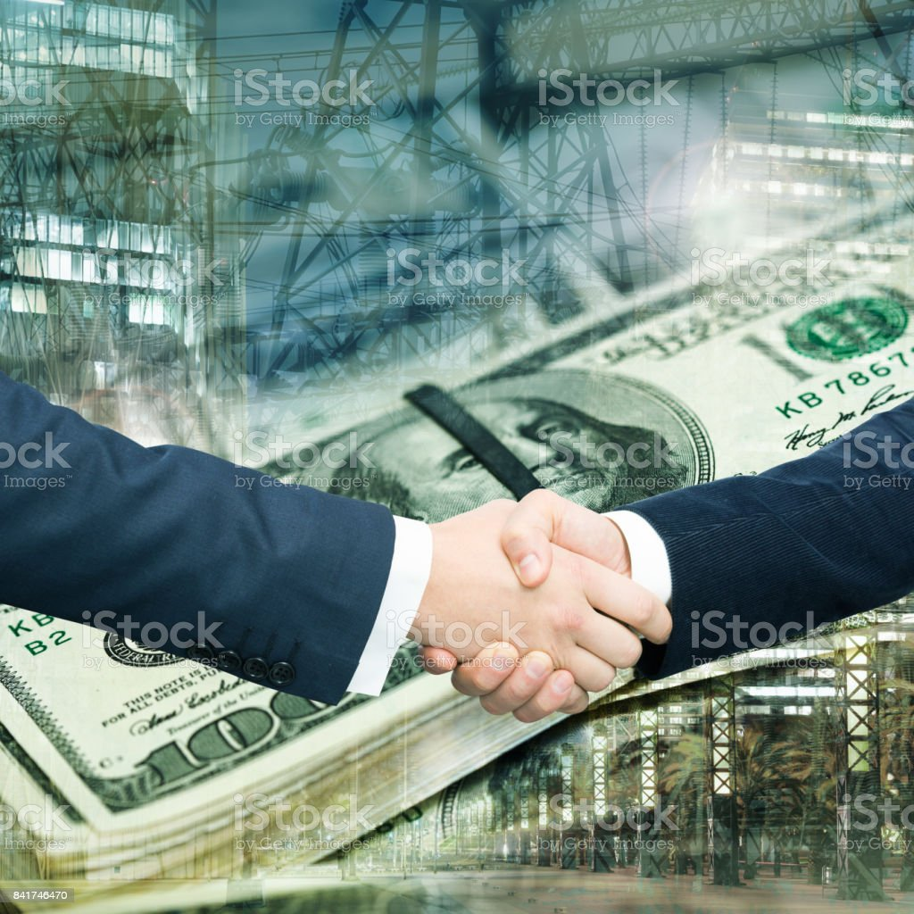 Handshake confirming partnership stock photo