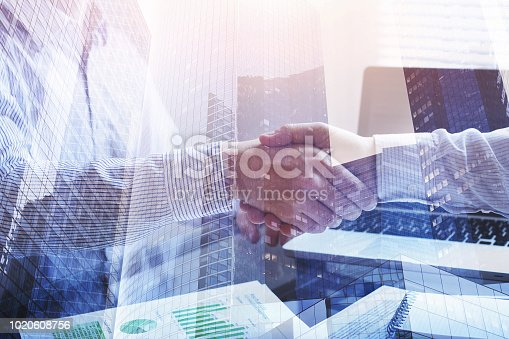 collaboration concept, business meeting double exposure, handshake closeup in office background