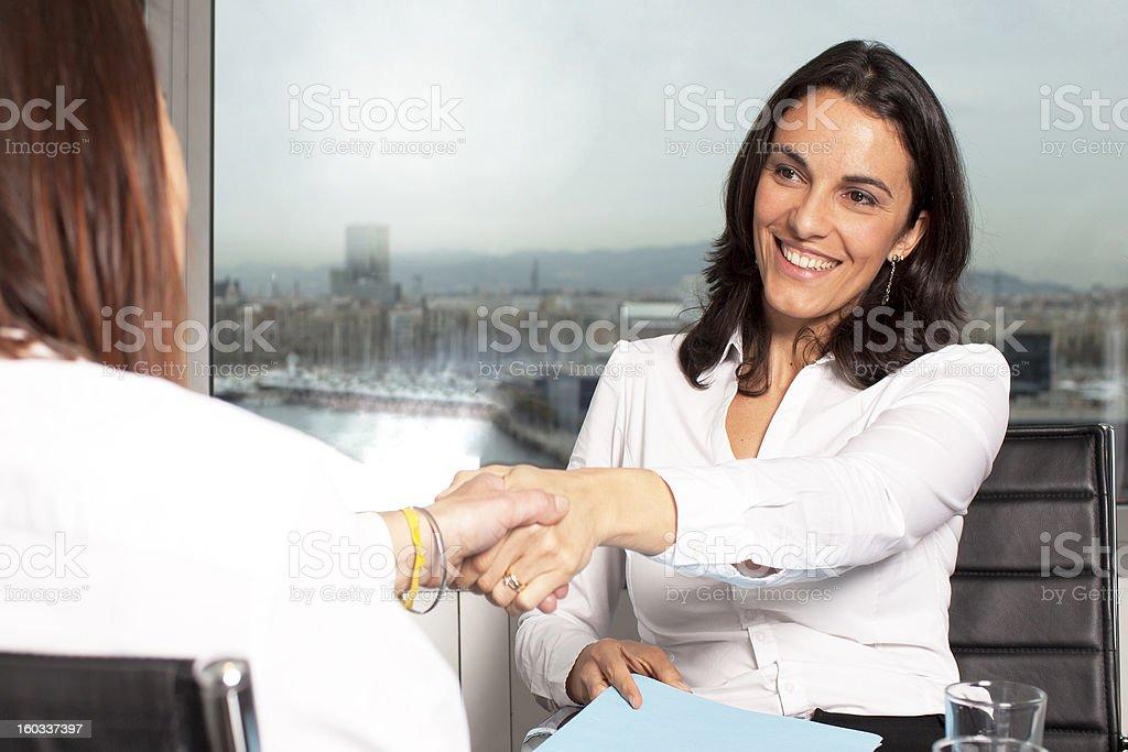 Handshake during business interview stock photo