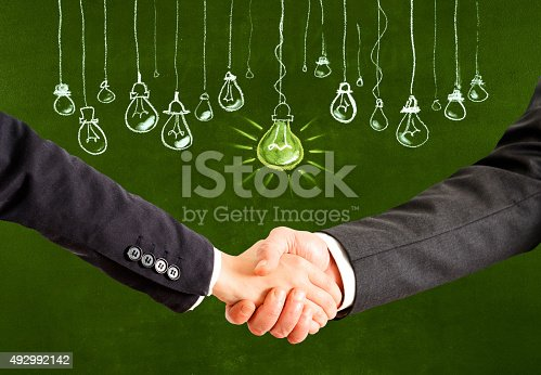 istock Handshake for a big idea 492992142