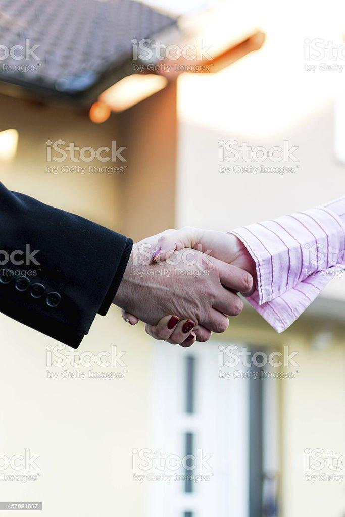 Handshake for new buying house royalty-free stock photo