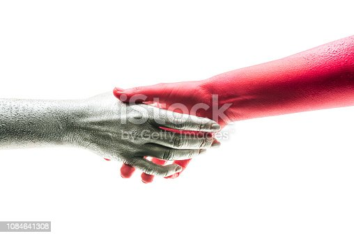istock Handshake Friendship Partnership, two people shaking hands on white background. Negotiating business, happy with work enjoying with workmate, Deal Concept. Good deal. Art handshake, contract agreement 1084641308