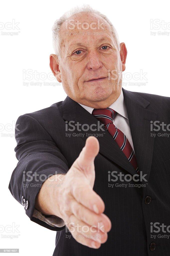 Handshake from a senior businessman royalty-free stock photo