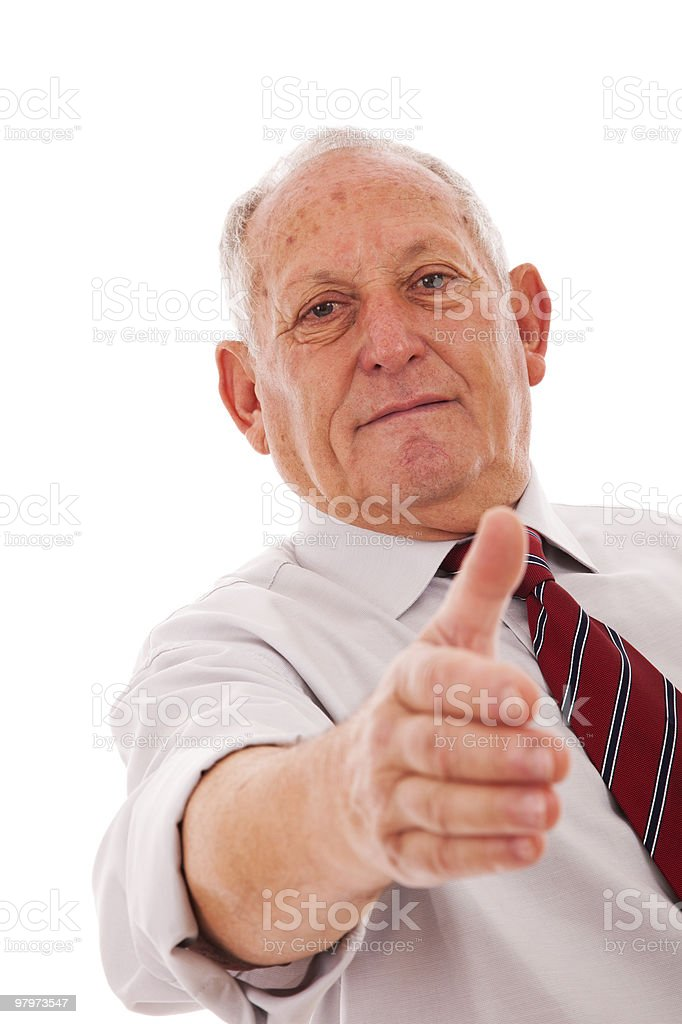 Handshake from a senior businessman royalty-free stock photo