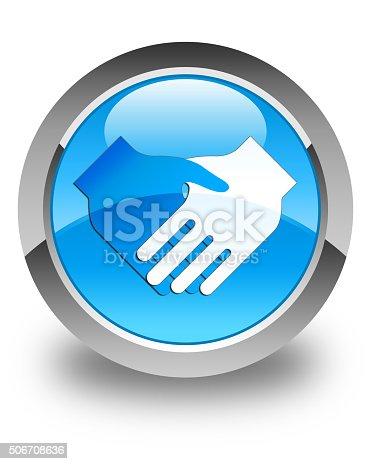 istock Handshake icon glossy cyan blue round button 506708636
