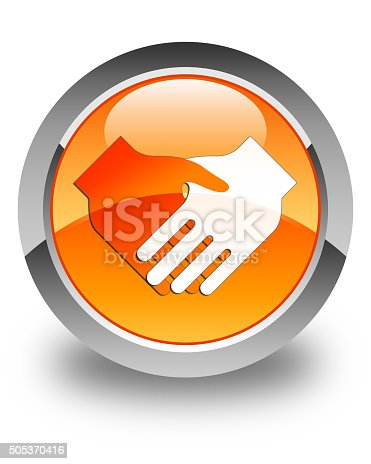 istock Handshake icon glossy orange round button 505370416