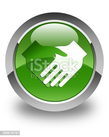 istock Handshake icon glossy soft green round button 538878792
