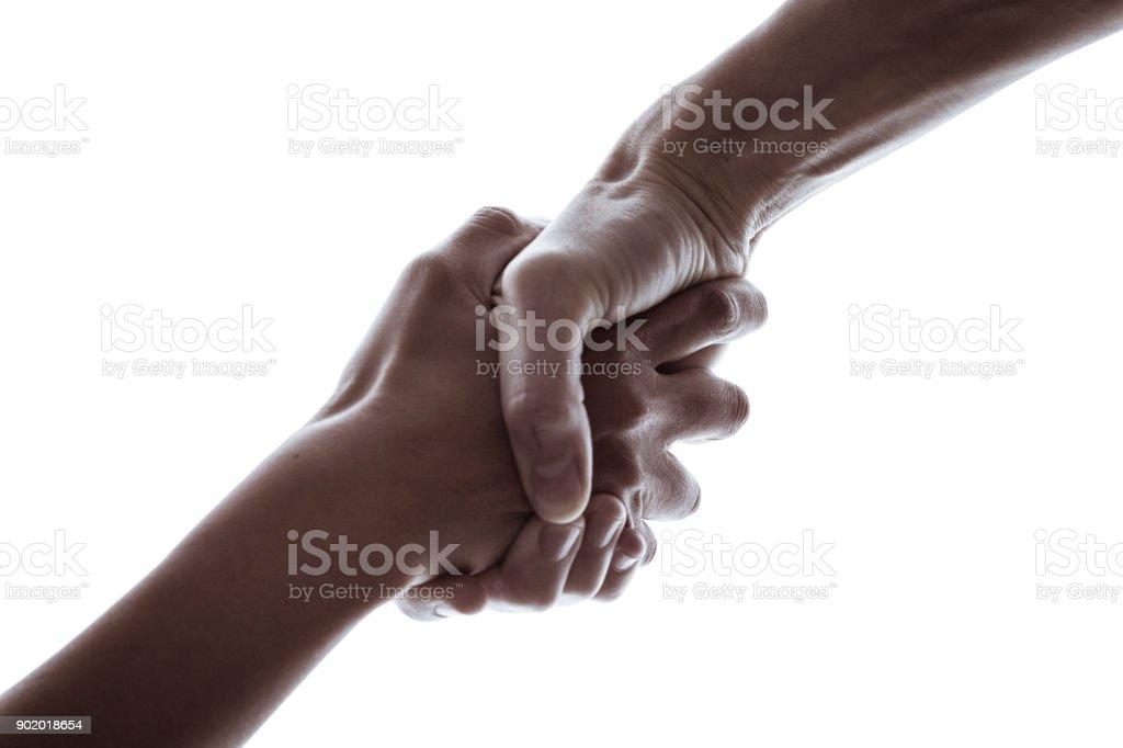 Handshake in a white background stock photo