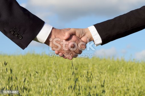 Shaking hands in the countryside. Blurred background.