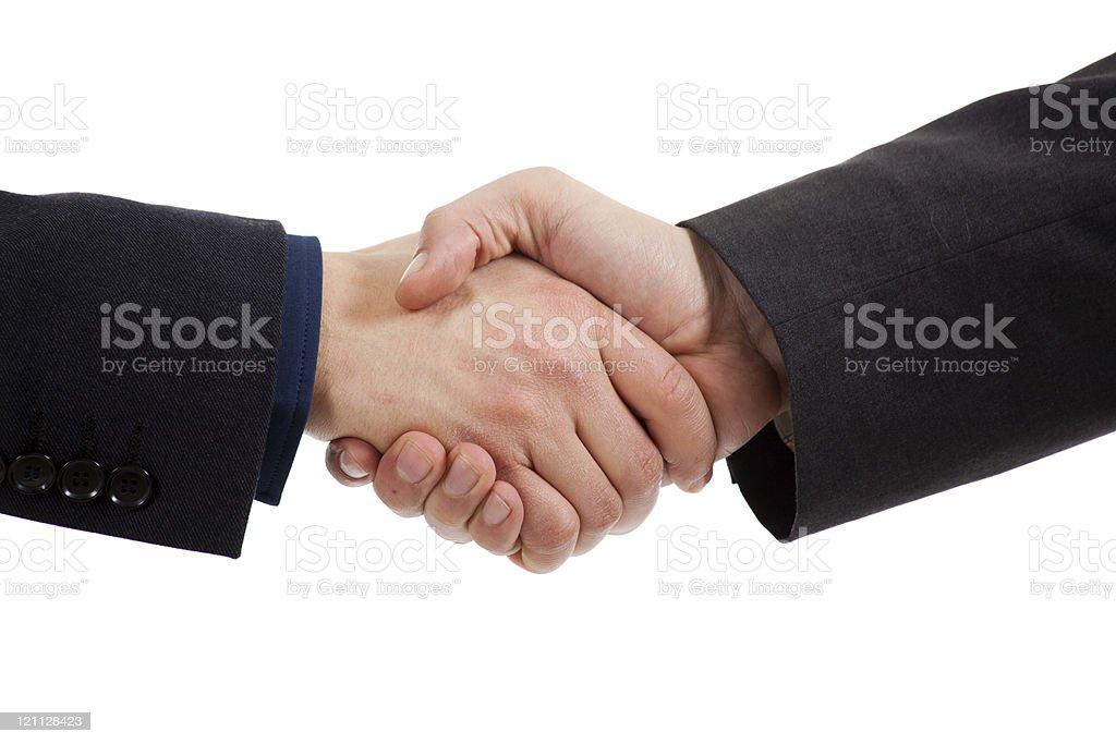 Handshake isolated on white royalty-free stock photo