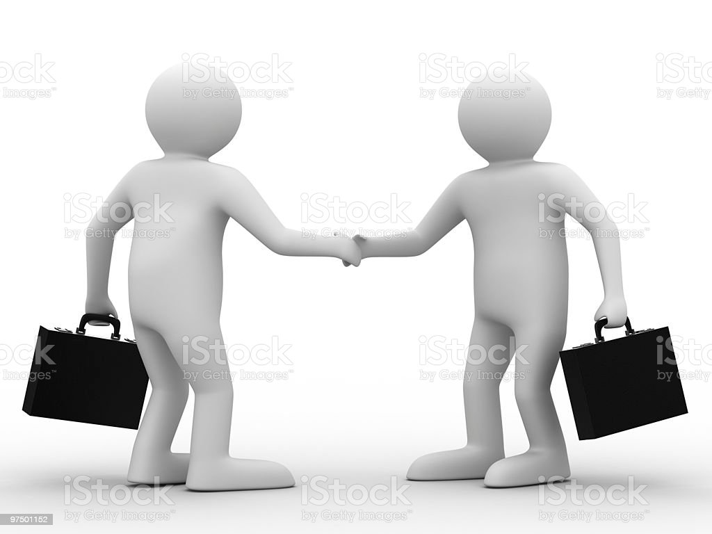 Handshake. Meeting two businessmen. Isolated 3D image royalty-free stock photo