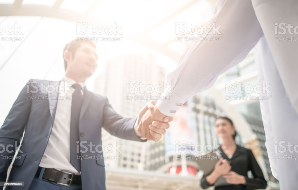 handshake of business People Colleagues Teamwork stock photo