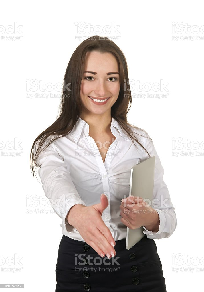 handshake of businesswoman with tablet stock photo