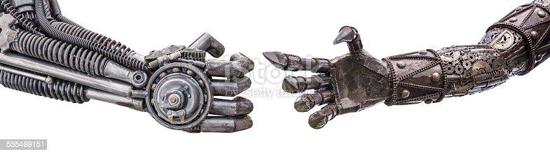 istock handshake of Metallic cyber or robot made from Mechanical ratche 535469151