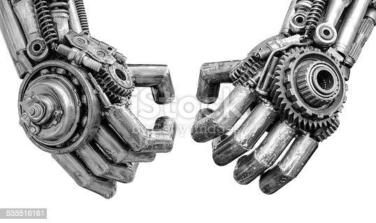 istock handshake of Metallic cyber or robot made from Mechanical ratche 535516161