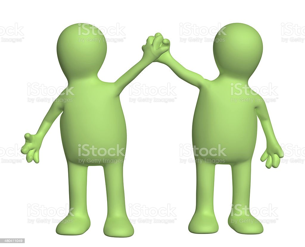 Handshake of two puppets royalty-free stock photo