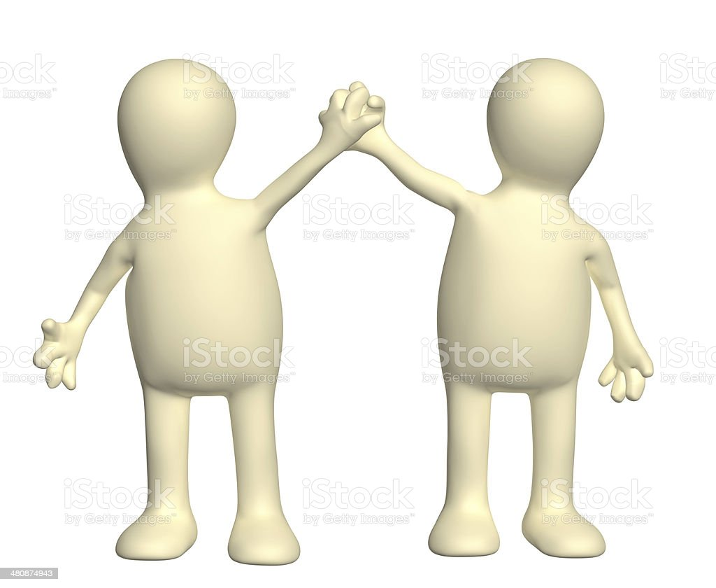 Handshake of two puppets stock photo