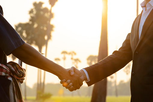 istock Handshake to be a contract in agreement. Between businessmen and farmers. 1142644203