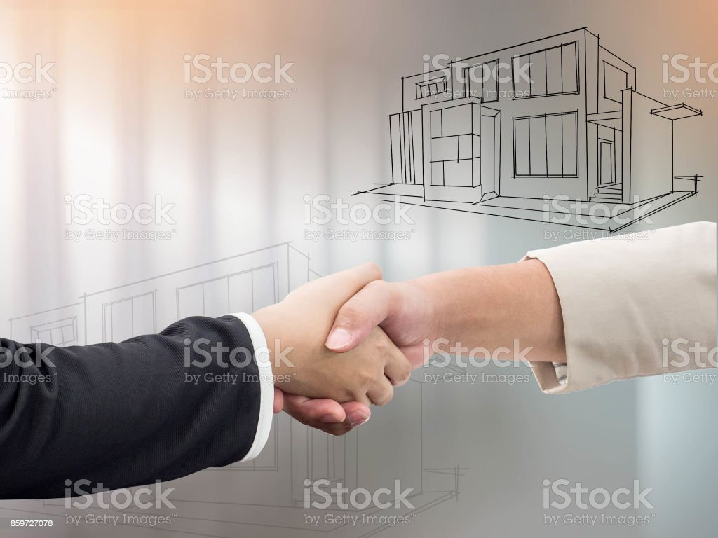 Handshake to seal a deal after a job recruitment meeting. stock photo