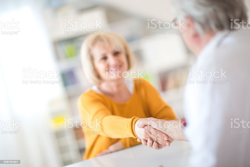 Handshake with a patient stock photo