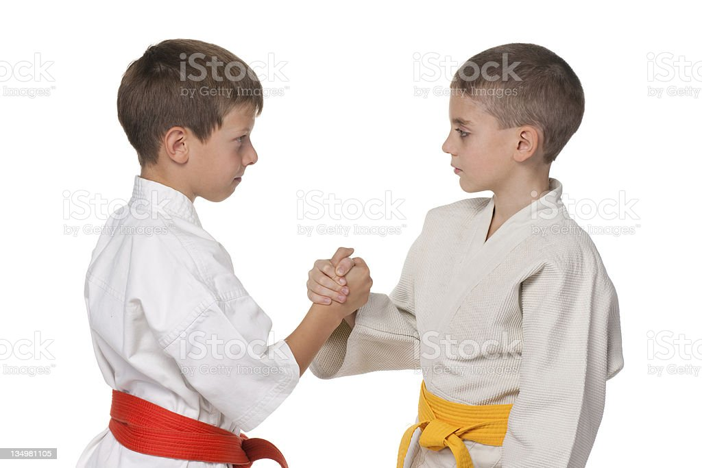 Handshaking boys in kimono royalty-free stock photo