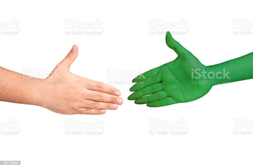 Handshaking human alien hands isolated stock photo