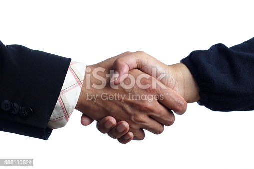 istock Handshaking Man and Woman, Isolated on White 888113624