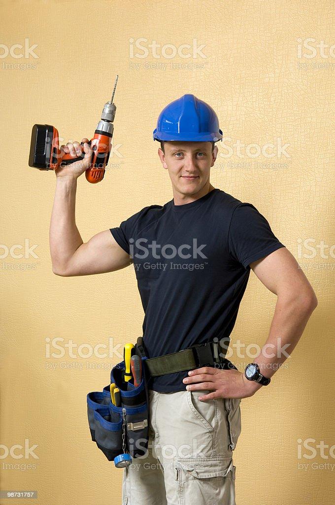 Handsom builder or DIY guy royalty-free stock photo