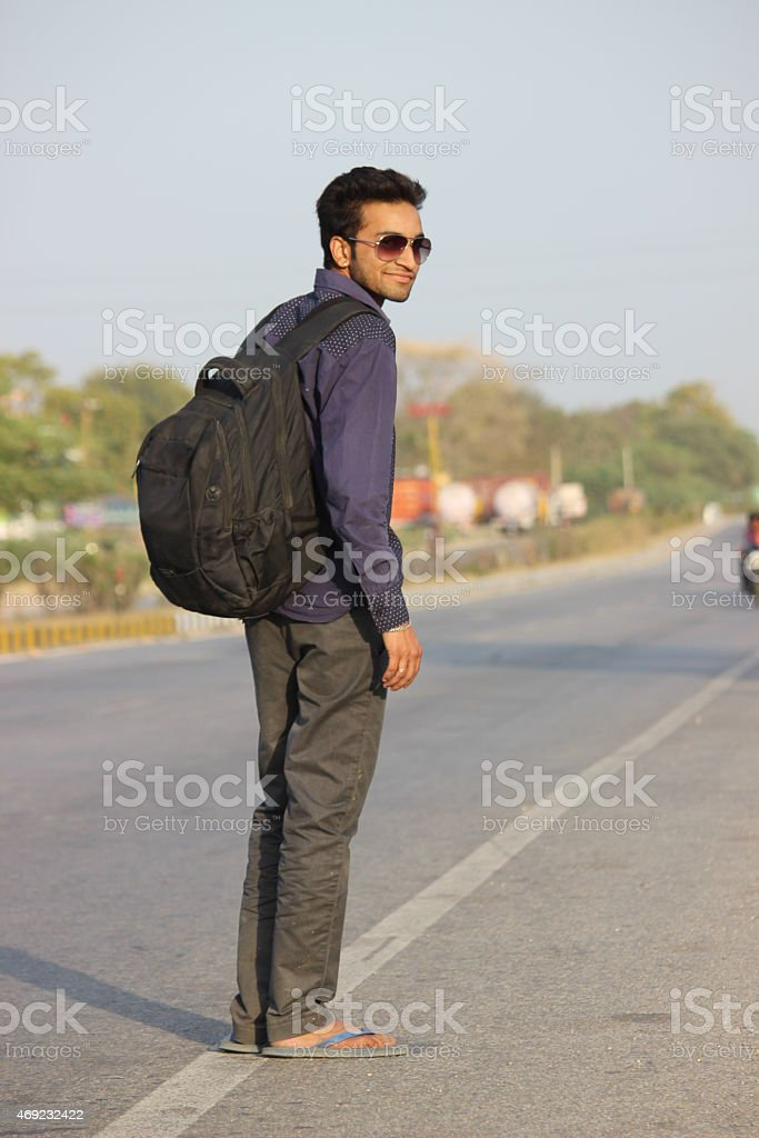 Handsome Adult Indian Boy - Traveler's life stock photo