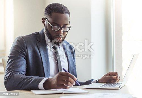 istock Handsome Afro American businessman 598932088