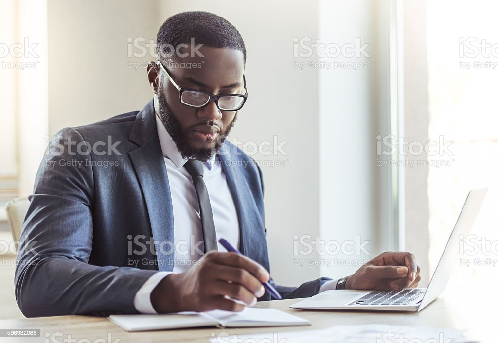 Handsome Afro American businessman stock photo