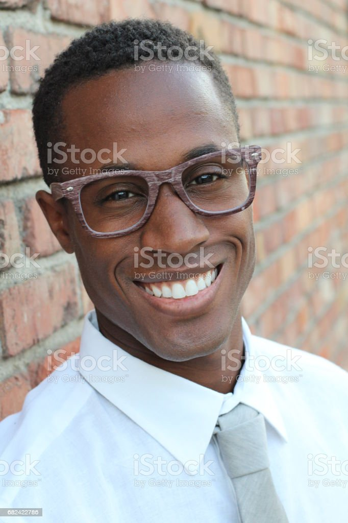 Handsome Afro American man smiling royalty-free stock photo