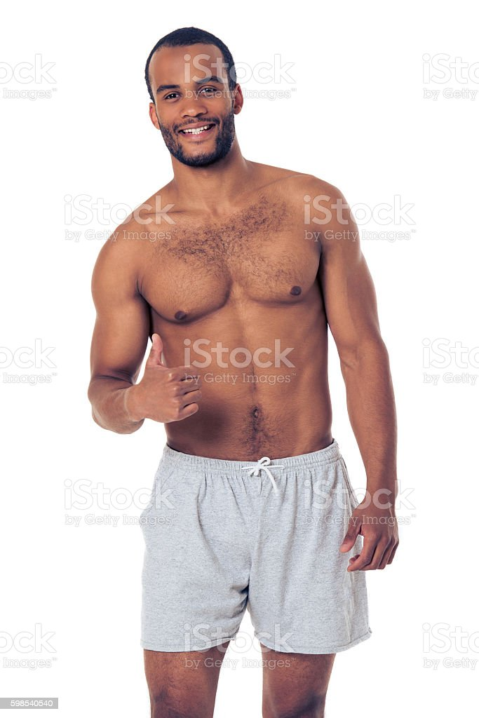 Handsome Afro American sportsman stock photo