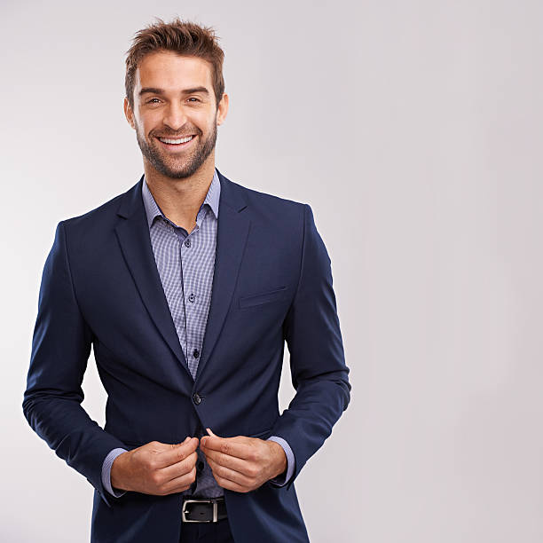 handsome and successful - men blazer stockfoto's en -beelden