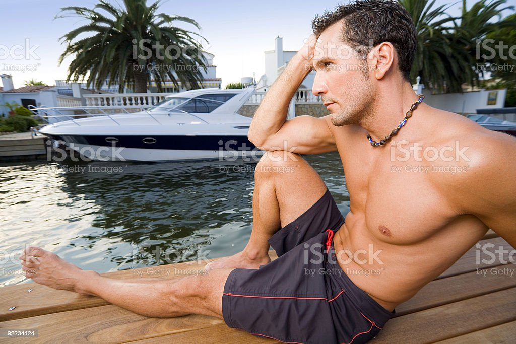Handsome and yacht royalty-free stock photo