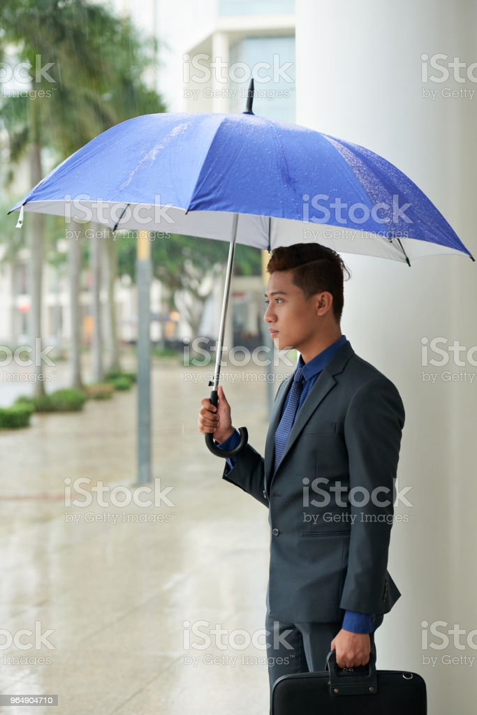 Handsome Asian Businessman with Umbrella royalty-free stock photo