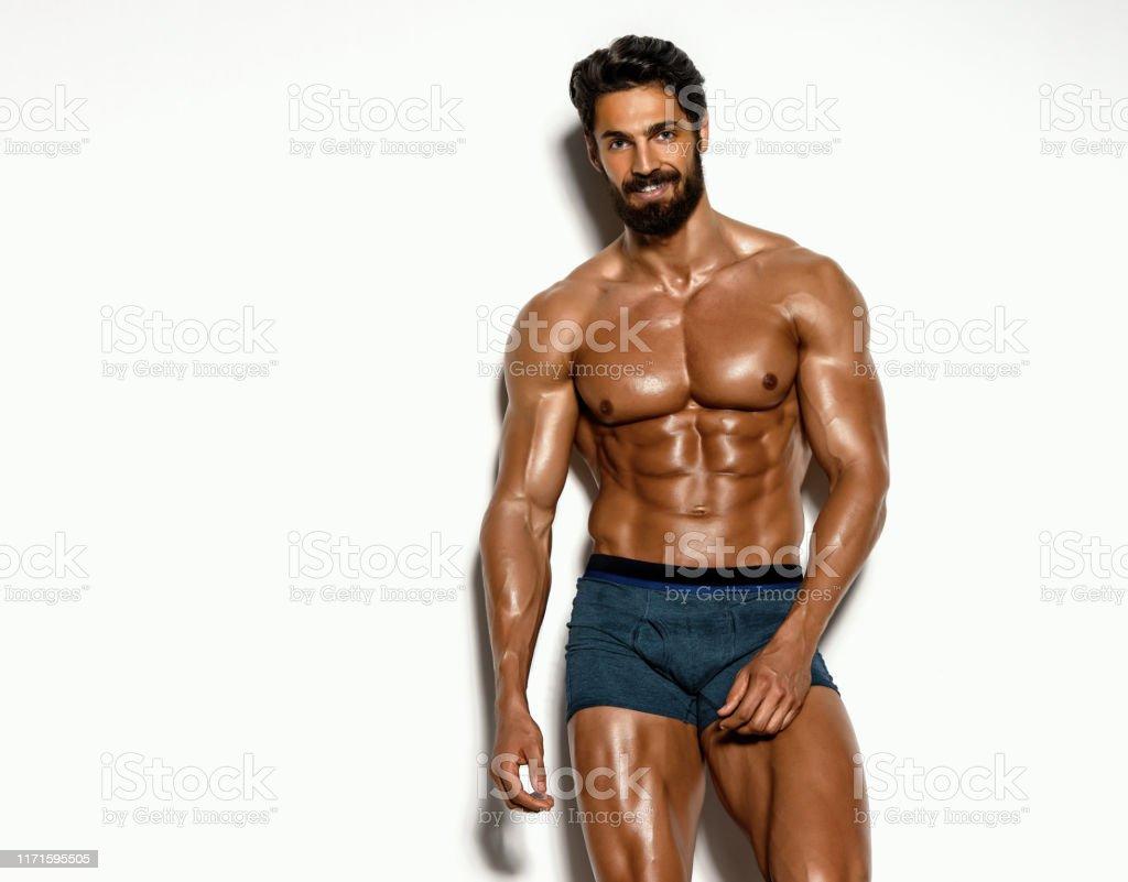 Schöne athletische Männer posiert in Unterwäsche - Lizenzfrei Aktiver Lebensstil Stock-Foto
