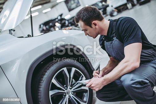898487280 istock photo Handsome auto service mechanics. 898486988