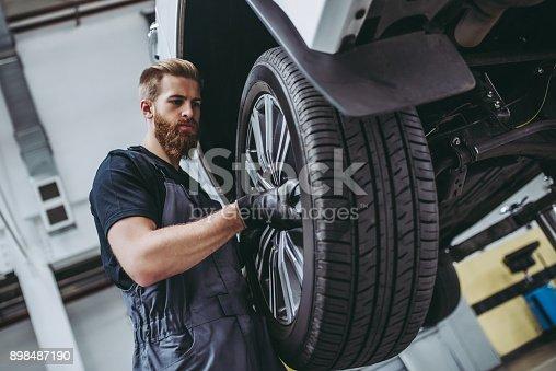 898487280 istock photo Handsome auto service mechanics. 898487190