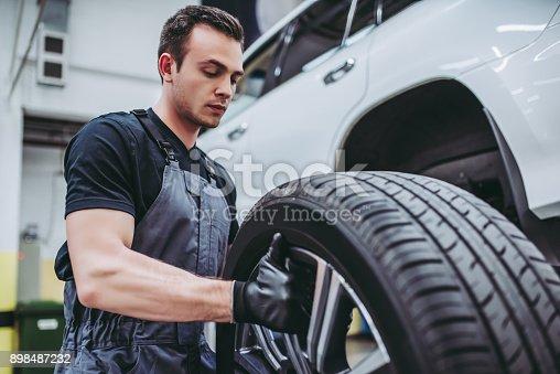898487280 istock photo Handsome auto service mechanics. 898487232