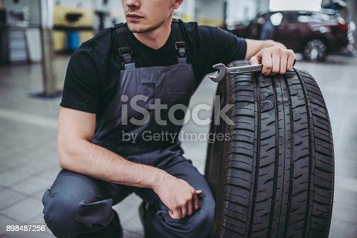 898487280 istock photo Handsome auto service mechanics. 898487256