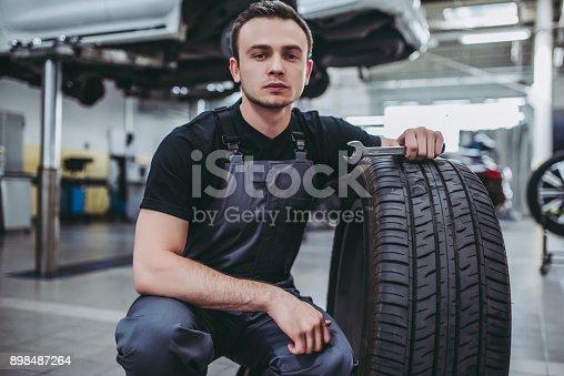 898487280 istock photo Handsome auto service mechanics. 898487264