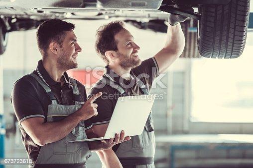 673723668 istock photo Handsome auto service workers 673723618