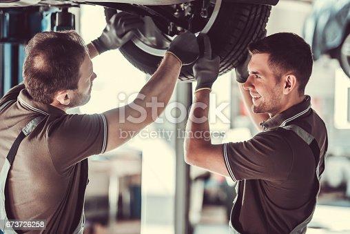 673723668 istock photo Handsome auto service workers 673726258