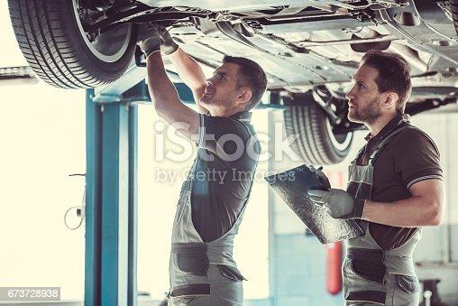 673723668 istock photo Handsome auto service workers 673728938