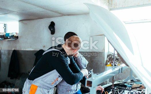 673723668 istock photo Handsome auto service workers 934893766