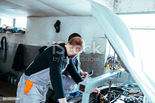 673723668 istock photo Handsome auto service workers 934893948