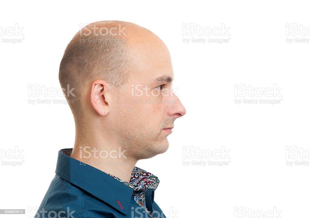 handsome bald man profile stock photo
