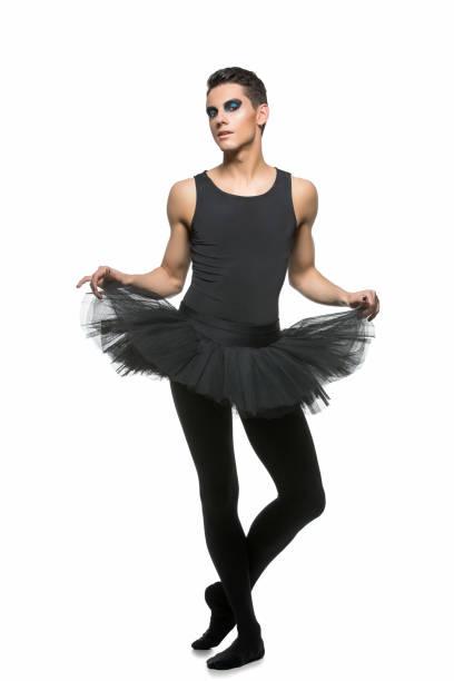 handsome ballet artist in tutu skirt – zdjęcie